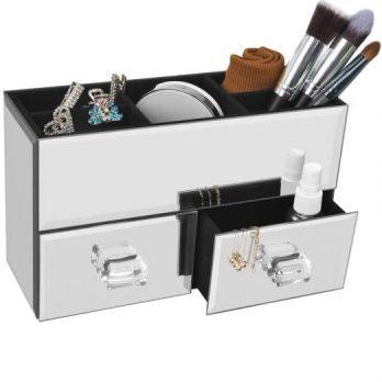 Deluxe Silver Mirror Box Organizer
