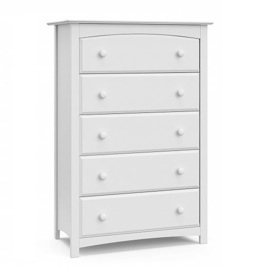White 5 Drawer Universal Dresser
