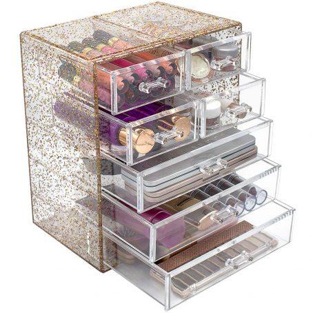 Organizador de maquillaje de plástico. Maquillaje cosmético y caja de almacenamiento de joyas. Amplio - Ideal para baño, tocador y encimera.