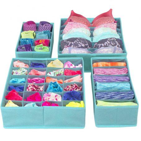 Sorbus Set de 4 divisores de cajones plegables, cajas de almacenamiento, organizadores de armario, organizador debajo de la cama