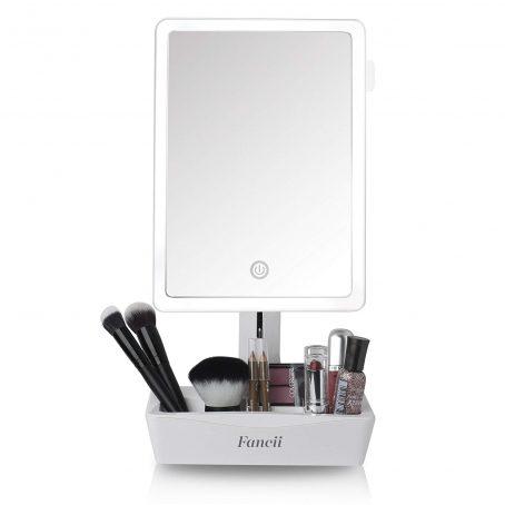 Espejo de maquillaje con tocador grande iluminado con LED con espejo de aumento 10X - Luz natural regulable, pantalla táctil, doble potencia, soporte ajustable con organizador cosmético. Organizador de maquillaje con espejo.