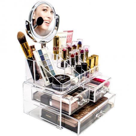 Organizador de maquillaje con espejo. Organizador de maquillaje cosmético acrílico con espejo de maquillaje - Estuche de almacenamiento de joyas y espejo de aumento extraíble de doble cara 3X / 1X - Diseño espacioso - para baño, tocador, tocador (transparente).