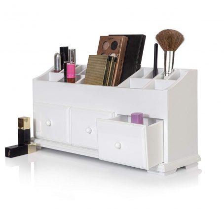 Organizador de maquillaje de madera. Caja de almacenamiento cosmético de madera para guardar ordenadas y organizadas herramientas de maquillaje, pequeños accesorios en el hogar y la oficina