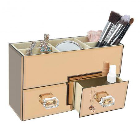 Organizador de maquillaje y cosmeticos. Organizador de caja de espejo de oro rosa. Almacenamiento moderno para maquillaje cosmético y joyería de mujer.