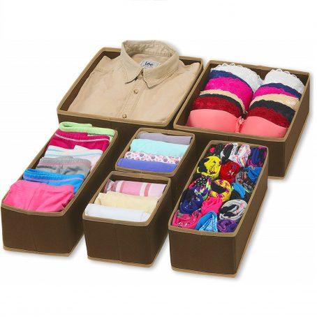 Caja de almacenamiento de tela plegable para el hogar simple Armario Tocador Cajón Divisor Organizador Cestas de la cesta para la ropa interior Sujetadores, Marrón