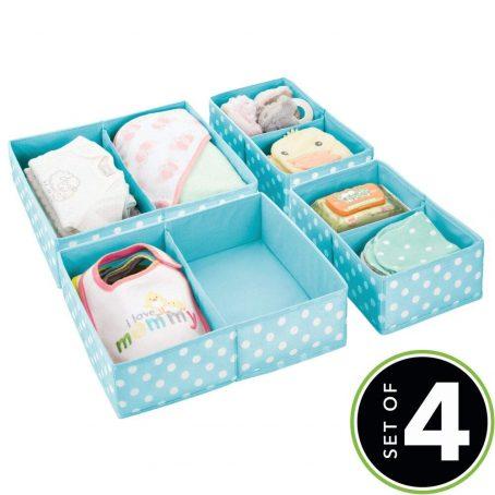 Organizador de almacenamiento de armario y cajones de tela suave para habitación de niños / niños, guardería - Organizador dividido en 2 compartimentos - Divertido estampado de lunares - Juego de 4, 2 tamaños - Turquesa con puntos blancos. Organizador de ropa para bebé.