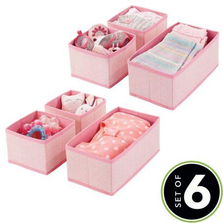 Organizador de almacenamiento de armario y cajón de tela suave para habitación de niños / niños pequeños, guardería, sala de juegos, dormitorio - Estampado en espiga - Contenedores organizadores en 2 tamaños - Juego de 6 - Rosa. Organizador para ropa de bebé