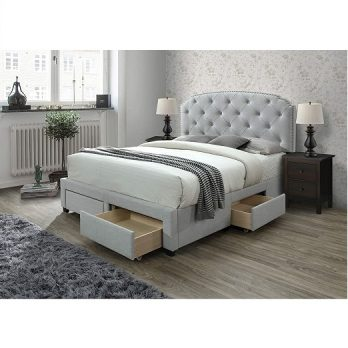 Upholstered Panel Storage Bed
