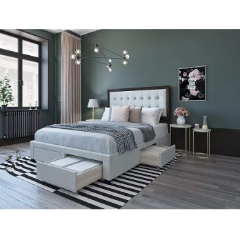 Upholstered Panel Bed Frame with Storage
