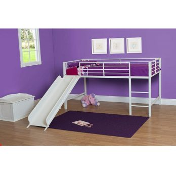 Twin Metal Loft Bed with Slide