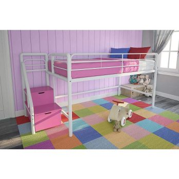 Twin Metal Loft Bed with Storage Steps
